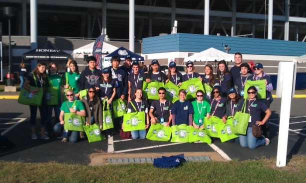 A group shot of the Green Game Day volunteers.