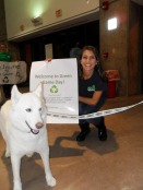 OEP Intern Emily Udal with UConn's mascot Jonathan.