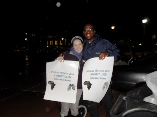 Sustainability coordinator Jen Clinton with Chibby Nwanonyiri (Founder of Kicks for Africa)