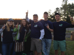 OEP Interns (right-left) Kerrin, Emily, Eric, and Chris and                                                     OEP Director (center) Rich Miller support UConn's #1 ranking for Sierra's 2013 Coolest Schools