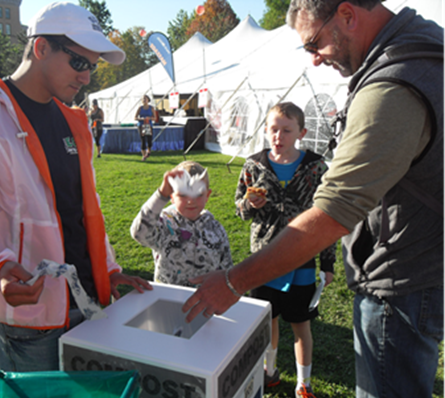 Volunteers encourage people to compost and recycle