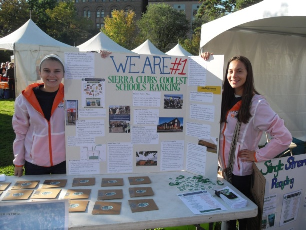 OEP Interns Kerrin and Emily promote UConn's #1 Sierra Club ranking