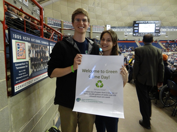 "OEP Interns Emily and Eric ""man the can"" to direct waste and recycling into the correct bins"