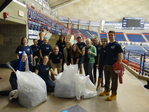 Volunteers with all the bottles we collected from the stands after the game