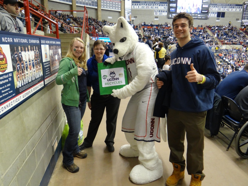 OEP Interns Katie and Chris pose with Corinne and the Husky Mascot. UConn Recycles!
