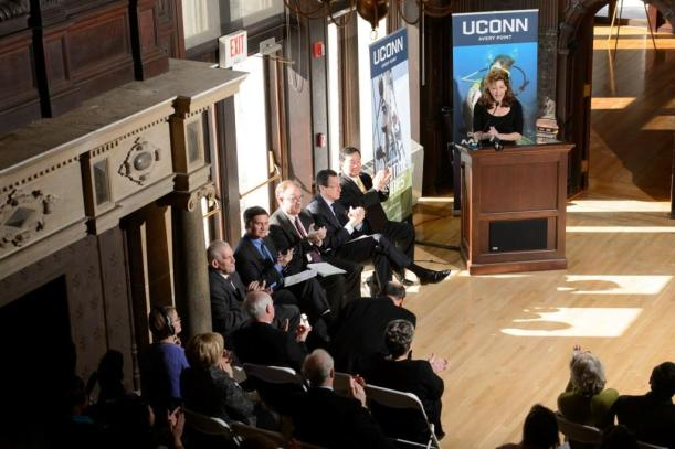 UConn President Susan Herbst speaks at an event to announce the launch of the Institute for Community Resiliency and Climate Adaptation held on Jan. 24, 2014 at the Branford House at the University of Connecticut Avery Point campus in Groton(Peter Morenus/UConn Photo)