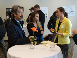 Professor John Volin (left) and UConn students enjoy the Poster and Networking Lunch. Photo by Eric Grulke