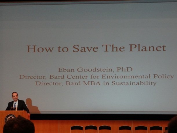Eban Goodstein's closing presentation. Photo by Eric Grulke