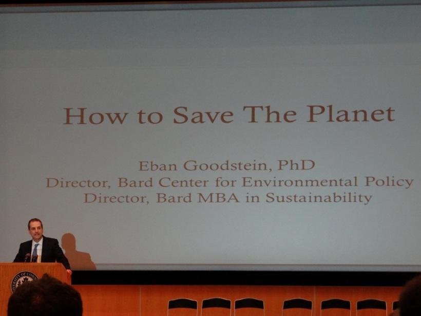 Eban Goodstein's closing presentation. Photo by Eric Grulke