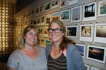 Lori Warner, left, and Rebecca Steiner in the Stevens Gallery, UConn